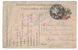 CARTOLINA POSTALE ITALIANA IN FRANCHIGIA MILITAIRE A BERTAND HENRI CHEZ SES PARENTS 155 COURS EMILE ZOLA VILLEURBANNE - Italie