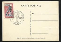 Carte Maximum Premier Jour Lyon Le 17/03/19622 N° 1332 Journée Du Timbre Messager Royal TB Soldé ! ! ! - Cartes-Maximum