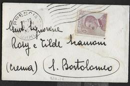 STORIA POSTALE REGNO - ANNULLO MECCANICO A 7 STRISCIE ONDULATE BRESCIA/FERROVIA SU BUSTINA - 1900-44 Vittorio Emanuele III