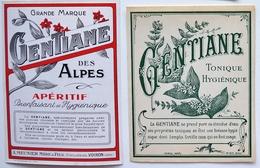 Lot 2 étiquettes Anciennes - Liqueur De GENTIANE Des ALPES - Apéritif Hygiénique MEUNIER Voiron (Isère)TB /A11 - Etiquettes