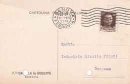 CARTOLINA POSTALE - GENOVA - F.LLI. CABELLA FU GIUSEPPE - VIAGGIATA PER BERGAMC - 1900-44 Vittorio Emanuele III