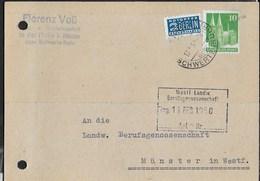 GERMANY - BIZONE - ANNULLO DC  HELLE B. HENNEN/SCHWERTE (RUHR) 13.02.1950 - SU CARTOLINA POSTALE PRIVATA - Bizone