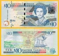 East Caribbean States 10 Dollars P-52b 2016 UNC Banknote - Caraibi Orientale