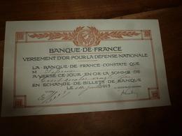 1915  Lot De 4 Certificats De La BANQUE De FRANCE Pour Versement D'OR En échange De Billets De Banque - Banque & Assurance