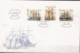 "Åland Aland 1988 Ships, Sailboats, Galeas ""Albanus"" ,, Schooner ""Ingrid"" Bark ""Pamir"" Mi 28-30 FDC - Aland"