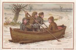 New Year Children Boat Sledge  Egc319 - Old Paper