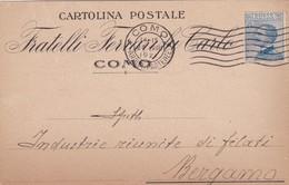 CARTOLINA POSTALE -  COMO - FRATELLI FERRARI FU CARLO - VIAGGIATA PER BERGAMO - 1900-44 Vittorio Emanuele III