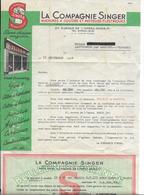 """Vieux Papier-Pub -Publicité SINGER  """"machines à Coudre """" LETTRE Accompagnée Du Bulletin De Garantie Année 1953 - Pubblicitari"""