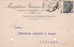 CARTOLINA POSTALE - BIELLA - MANIFATTURA ITALIANA DI SCARDASSI - VIAGGIATA PER  BERGAMO - 1900-44 Vittorio Emanuele III