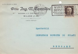 CARTOLINA POSTALE - MILANO - DITTA ING. N. CASTELLINI - VIAGGIATA PER  BERGAMO - 1900-44 Vittorio Emanuele III