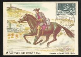 Carte Maximum Premier Jour Aix Les Bains  Le 14/03/1964 N° 1406 Journée Du Timbre Courrier à Cheval XVIII TB Soldé ! ! ! - Cartes-Maximum