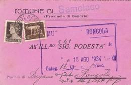 STORIA POSTALE - CUMUNE DI SAMOLACO ( SONDRIO) - VIAGGIATA PER RONCOLA(  BERGAMO) - 1900-44 Vittorio Emanuele III