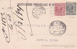 STORIA POSTALE - BERGAMO - DEPUTAZIONE PROVINCIALE DI BERGAMO - VIAGGIATA PER PONTE S. PIETRO( BERGAMO) - 1900-44 Vittorio Emanuele III