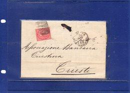 ##(DAN194)-Italy 1873-Piego + Testo Affrancato Con Effigie Cent.40 Da Torino Annullo  Numerale A Punti 189 Per Trieste - 1861-78 Vittorio Emanuele II