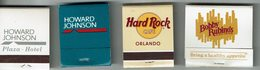 Lot De 4 Pochettes Allum.  Howard Jphnson, Bobby Rubino's Et Hard Rock - Boites D'allumettes