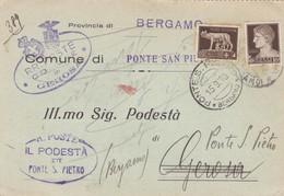 STORIA POSTALE - COMUNE DI GEROSA ( BERGAMO - VIAGGIATA PER PONTE S. PIETRO ( BERGAMO) - 1900-44 Vittorio Emanuele III