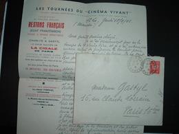 LETTRE TP PETAIN 1F OBL.19-9 41 SAINT LO GARE MANCHE (50) GASTYL THEATRE MUNICIPAL+ RESTONS FRANCAIS De CHARLYS & GASTYL - Marcophilie (Lettres)