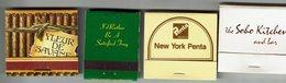 Lot De 4 Pochettes Allum.  New York City, New York Penta, Cave Creek Et Fleur De Savane - Boites D'allumettes