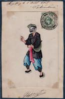 1908 - SUPERBE GRAVURE SIGNÉE (LITHOGRAPHIE?) Sur PAPIER DE RIZ Avec TIMBRE HONG KONG OBLITERATION VICTORIA CHINA CHINE - Hong Kong (...-1997)