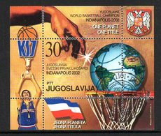 YUGOSLAVIA 2002 Basketball Winners Block Used.  Michel Block 54 - Blocs-feuillets