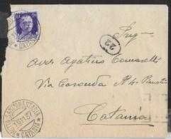 STORIA POSTALE REGNO - ANNULLO DC MOTTA SANT'ANASTASIA/CATANIA - 16.1.1937 SU BUSTA PER CATANIA - 1900-44 Vittorio Emanuele III