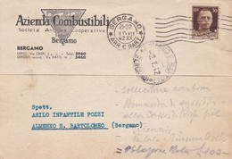 STORIA POSTALE - BERGAMO - AZIENDACOMBUSTIBILI - VIAGGIATA PER ALMENNO S. BARTOLOMEO ( BG) - 1900-44 Vittorio Emanuele III