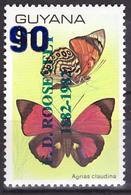 Guyana 1982 Butterflies, Insects, Fauna Overprint. VERY RARE! - Guyane (1966-...)