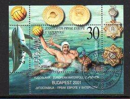 YUGOSLAVIA 2001 Water Polo Champion Block Used.  Michel Block 51 - Blocs-feuillets