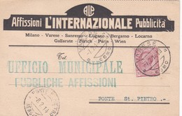 CARTOLINA POSTALE - VARESE - AFFISSION L'INTERNAZIONALE PUBBLICITA'- VIAGGIATA PER PONTE S, PIETRO ( BG) - 1900-44 Vittorio Emanuele III