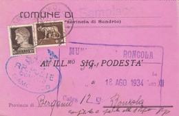 STORIA POSTALE - COMUNE DI SAMOLACO( SONDRIO)- VIAGGIATA PER RONCOLA ( BG) - 1900-44 Vittorio Emanuele III