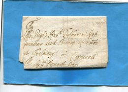 Grande Bretagne-OLD LETTER -1704+-cachet De Cire Au Dos-document Entier Présenté  En Son Pliage D'origine Et Ouverte - Postmark Collection