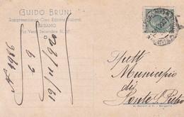 STORIA POSTALE - BERGAMO - GUIDO BRUNI, RAPPRESENTANZA CASA EDITRICE VALLARDI - VIAGGIATA PER PONTE S. PIETRO ( BG) - 1900-44 Vittorio Emanuele III