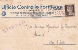 STORIA POSTALE -MILANO - UFFICIO CONTROLLO FORMAGGI - VIAGGIATA PER OLTRE IL COLLE ( BG) - 1900-44 Vittorio Emanuele III