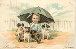 ENFANT ET PETITS CHIENS.(carte Gaufrée) - Chiens