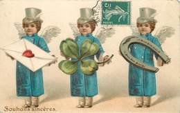 SOUHAITS SINCÈRES - Thème De La Chance.(carte Gaufrée) - Angels