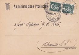 STORIA POSTALE - BERGAMO - AMMINISTRAZIONE PROVINCIALE - VIAGGIATA PER ALMENNO S. SALVATORE ( BG) - 1900-44 Vittorio Emanuele III