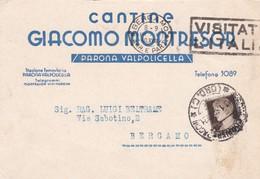 STORIA POSTALE - VERONA - CANTINE GIACOMO MONTRESOR , PARONA VALPOLICELLA - VIAGGIATA PER BERGAMON - 1900-44 Vittorio Emanuele III