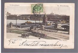 St Petersbourg Pont Nicolas Horse Tram 1904 OLD POSTCARD - Russia