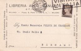 CARTOLINA POSTALE - MILANO - LIBRERIA ALDO MANUZIO - VIAGGIATA PER BERGAMO - 1900-44 Vittorio Emanuele III