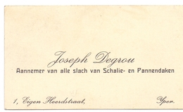 Visitekaartje - Carte Visite - Aannemer Dakwerken Joseph Degrou - Ieper - Cartes De Visite