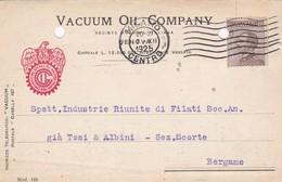 CARTOLINA POSTALE - GENOVA - VACUUM OIL COMPANY - VIAGGIATA PER BERGAMO - 1900-44 Vittorio Emanuele III