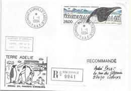 YT 133 - Arrivée Des Manchots Empereurs - Cachet Du 1er Janvier 1994 De Dumont D'Urville - Terre Adélie - Terres Australes Et Antarctiques Françaises (TAAF)