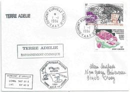 YT 125 - Radio Amateur - YT 173 - Grenat Almandin - Cachet Du 1er Janvier 1994 De Dumont D'Urville - Terre Adélie - Terres Australes Et Antarctiques Françaises (TAAF)