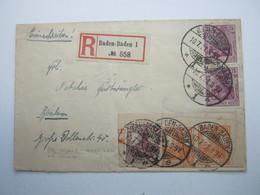 1921 , Ganzsachenausschnitt Auf Brief Aus  Baden - Baden , Sehr Selten - Deutschland