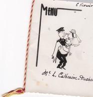 Rare MENU (Illustrat.?) De MARIAGE 4 Volets 8,5x11 (06/02/1956) L.C. DUCHEMIN (Aviateur Ou Postier Portant Sa Femme) - Menus
