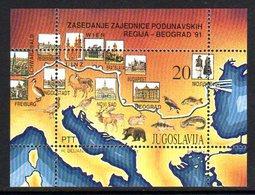 YUGOSLAVIA 1991 Danube Conference Block MNH / **.  Michel Block 40 - Blocs-feuillets