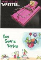 2 CPM Publicité Souris Rat Tapette Fromage Gruyère, Discrimination Homosexualité, Tasse Ballon Café Calvados, Mouse - Animaux & Faune