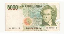 Italie 1985 Billet De 5000 Lires ( Déchirure ) - [ 2] 1946-… : Républic