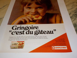 ANCIENNE PUBLICITE C EST DU GATEAUX LES CAKE GRINGOIRE 1968 - Afiches