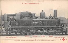 Les Locomotives  -  Machine De Train De Marchandise N° 12 En Service Sur La Ceinture  - Cheminots - Chemin De Fer - Matériel